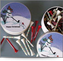 Christmas tin of golf tees