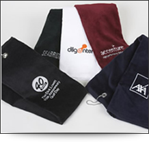 Luxurious woven golf towels