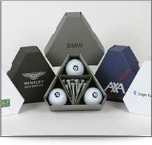 Triangle packs for corporate golf gifts